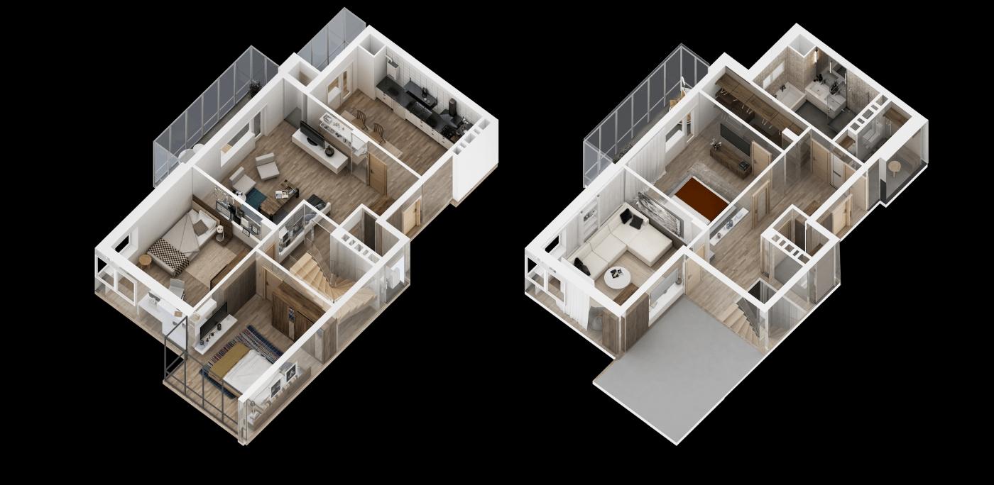 2 Storey House 3D Floor Plan, Resize