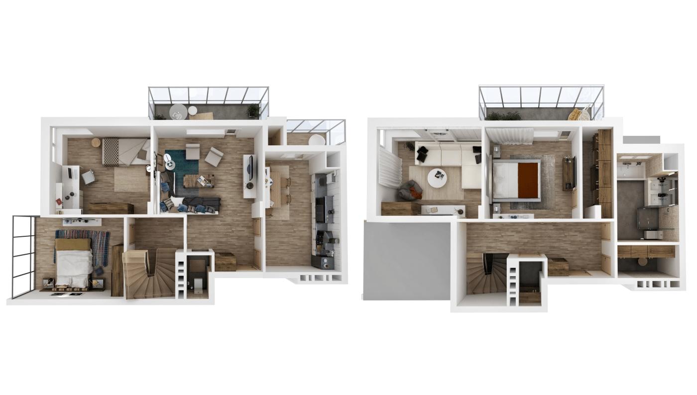 Dual Level 3D Floor Plan, Resize