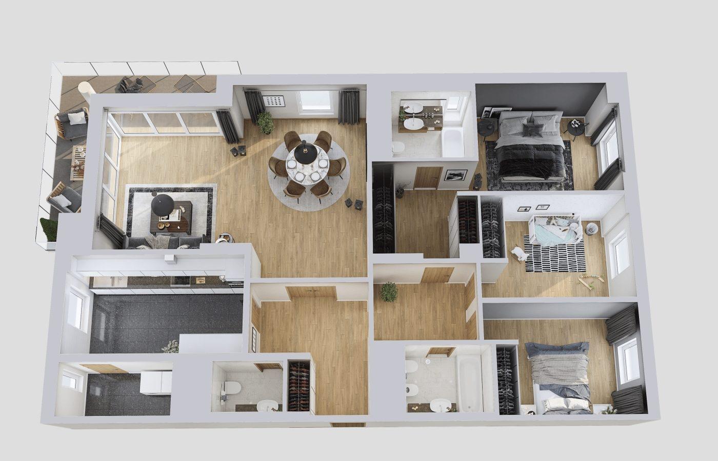 Luxury Apartment 3D Floor Design, Resize