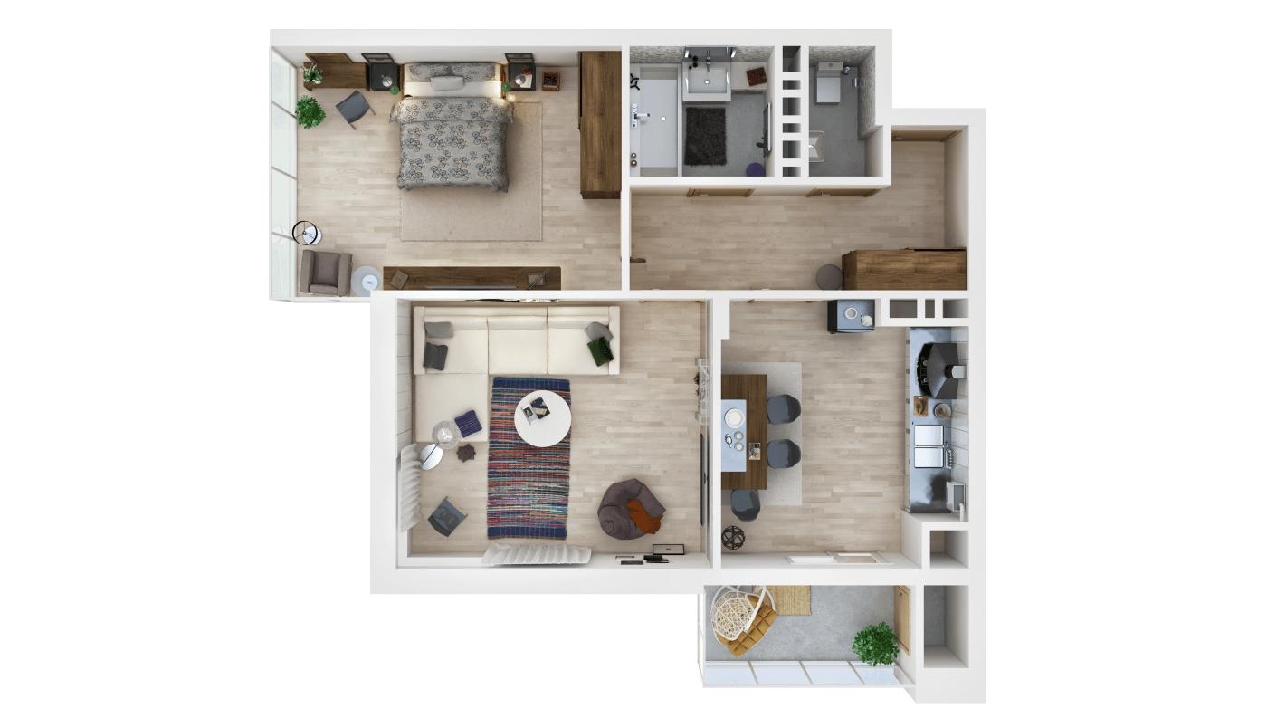 Residential 3D Floor Plan, Resize